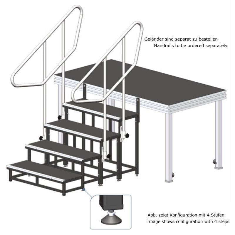 alustage modulare b hnen treppe 4 stufen 20 40 60 80 cm. Black Bedroom Furniture Sets. Home Design Ideas