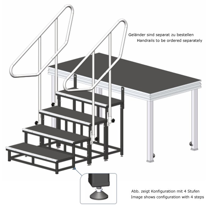 Fabulous Alustage Modulare Bühnen-Treppe - 2 Stufen - 20 cm, 40 cm, 158,8 JR13