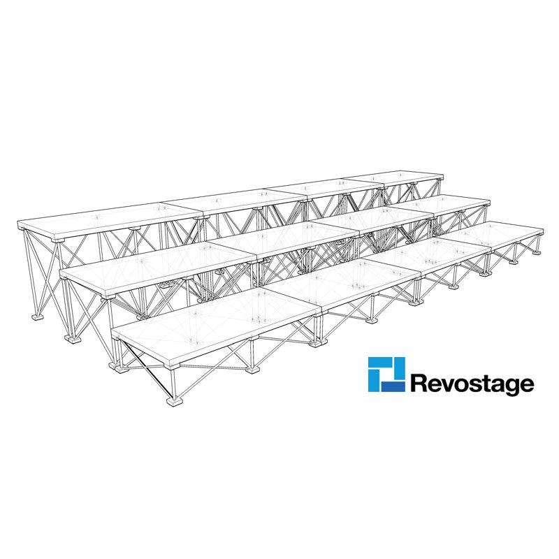 Revostage Choir Stage 4 m Width, 3 Tiers, 1 x 0,52 m decks
