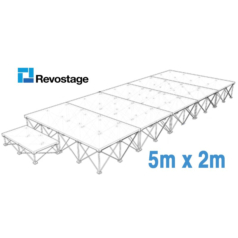 Revostage Complete Portable Stage 5 x 2 m, Height 40 cm