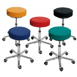 Swivel Stool Padding/Synthetic Leather Model 3862.1 Seatheight 46-59 cm with Castors by Lotz