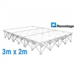 Revostage Complete Portable Stage 3 x 2 m, Height 40 cm, Grey Carpet Finished