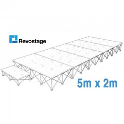 Revostage Complete Portable Stage 5 x 2 m, Height 40 cm, Grey Carpet Finished, With Step and Valances